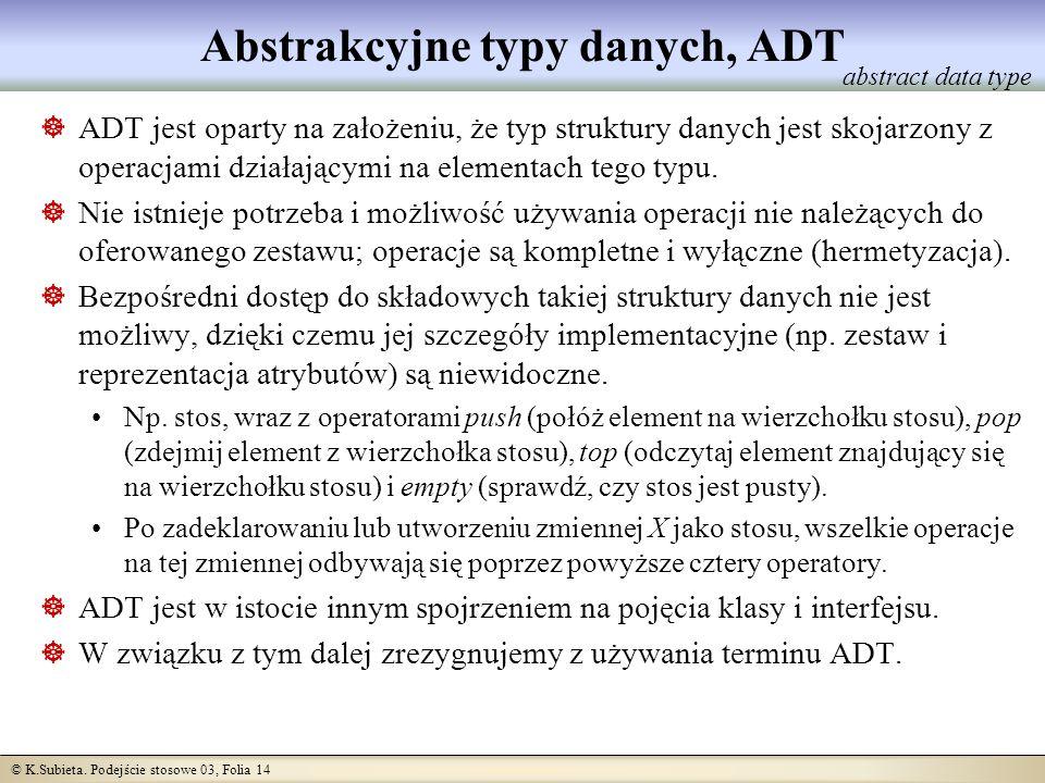Abstrakcyjne typy danych, ADT