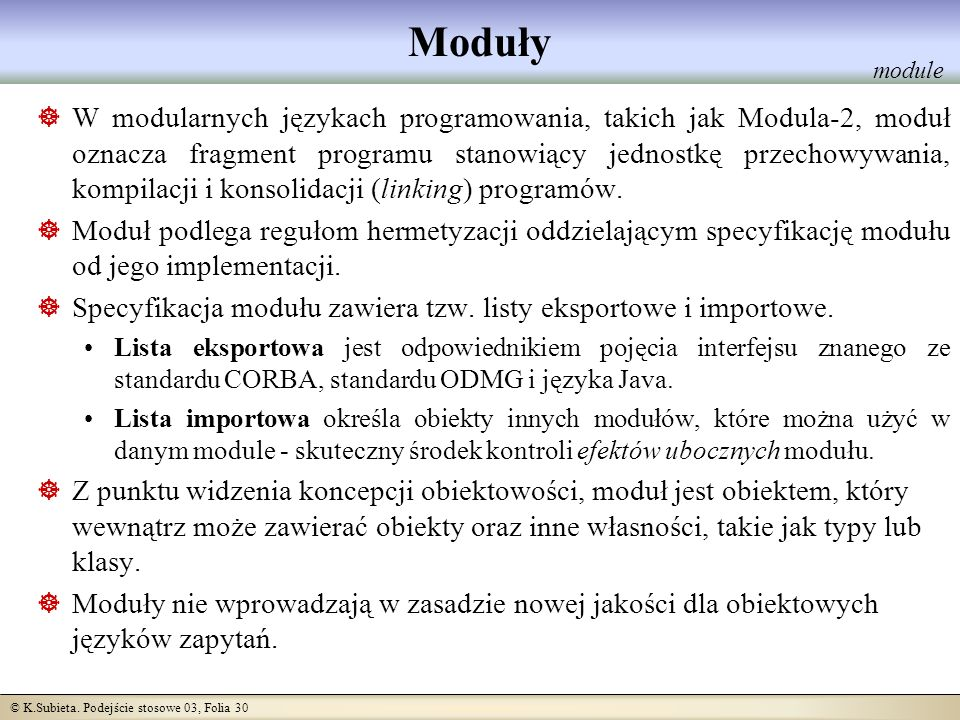 Moduły module.