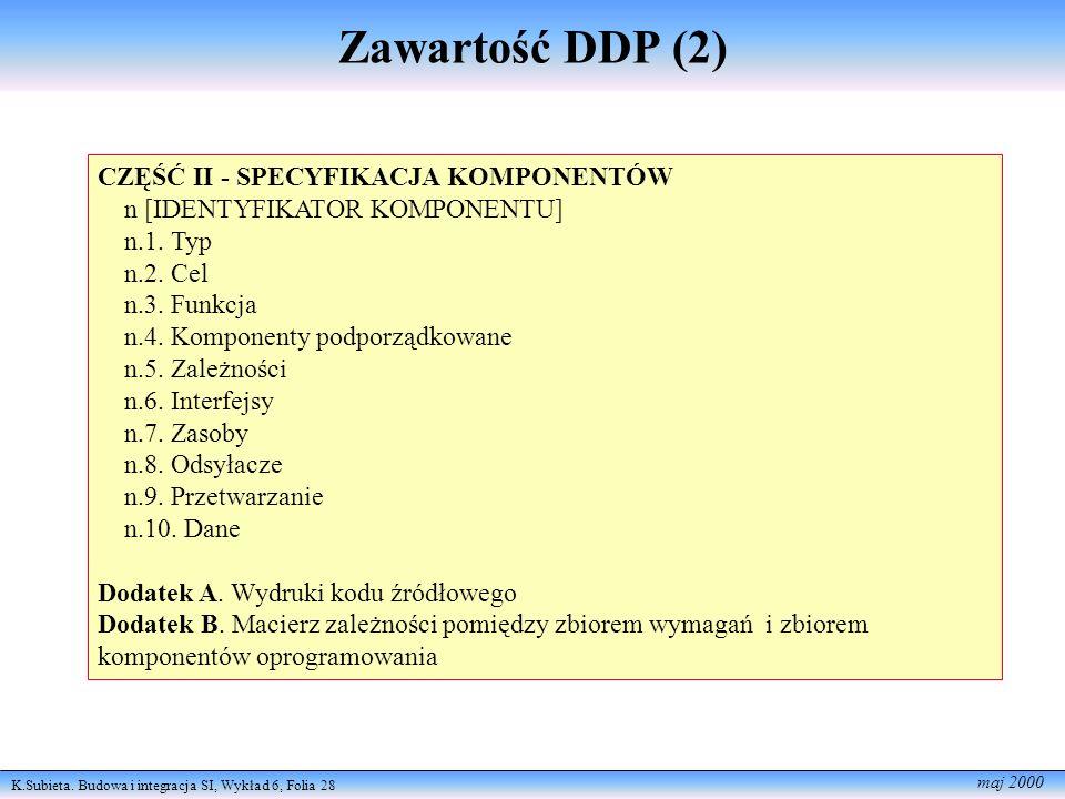 Zawartość DDP (2) CZĘŚĆ II - SPECYFIKACJA KOMPONENTÓW