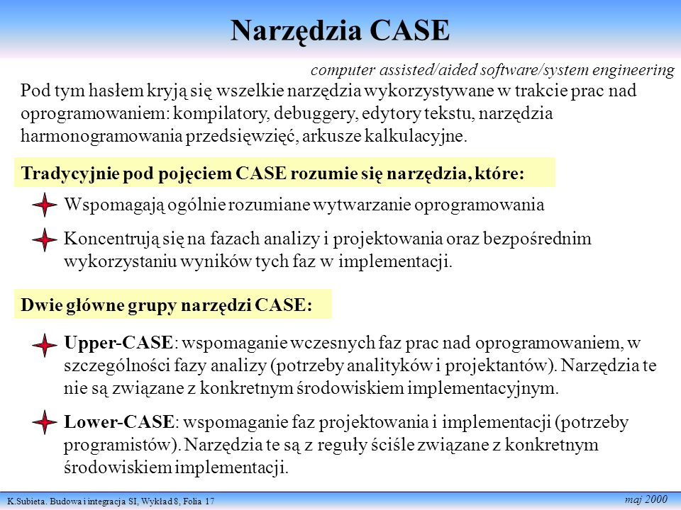 Narzędzia CASE computer assisted/aided software/system engineering.