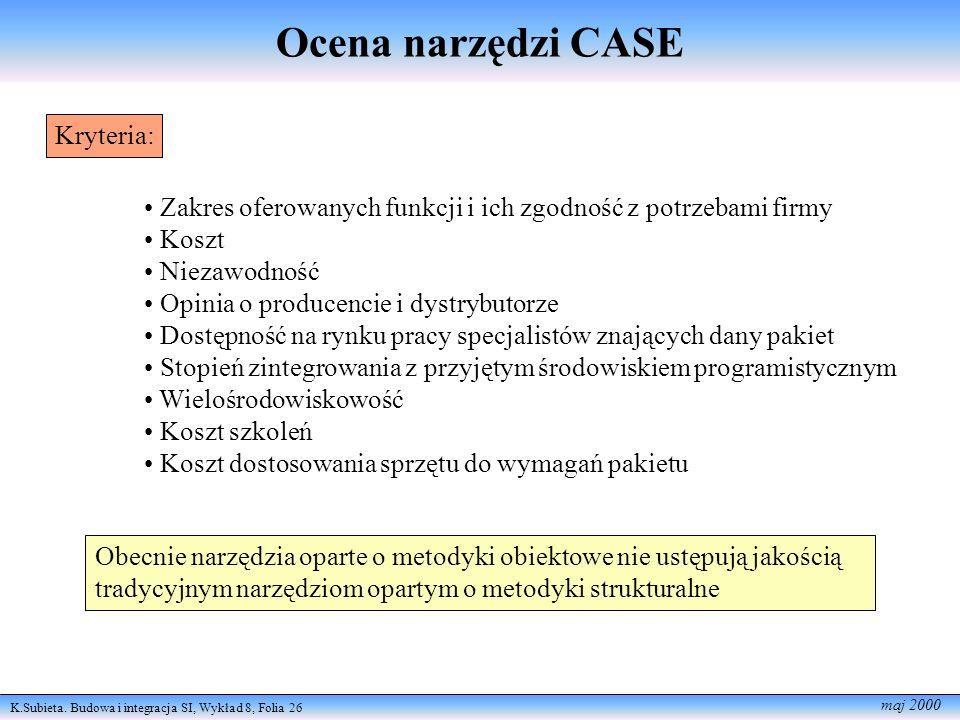 Ocena narzędzi CASE Kryteria: