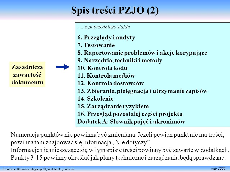 Spis treści PZJO (2) 6. Przeglądy i audyty 7. Testowanie