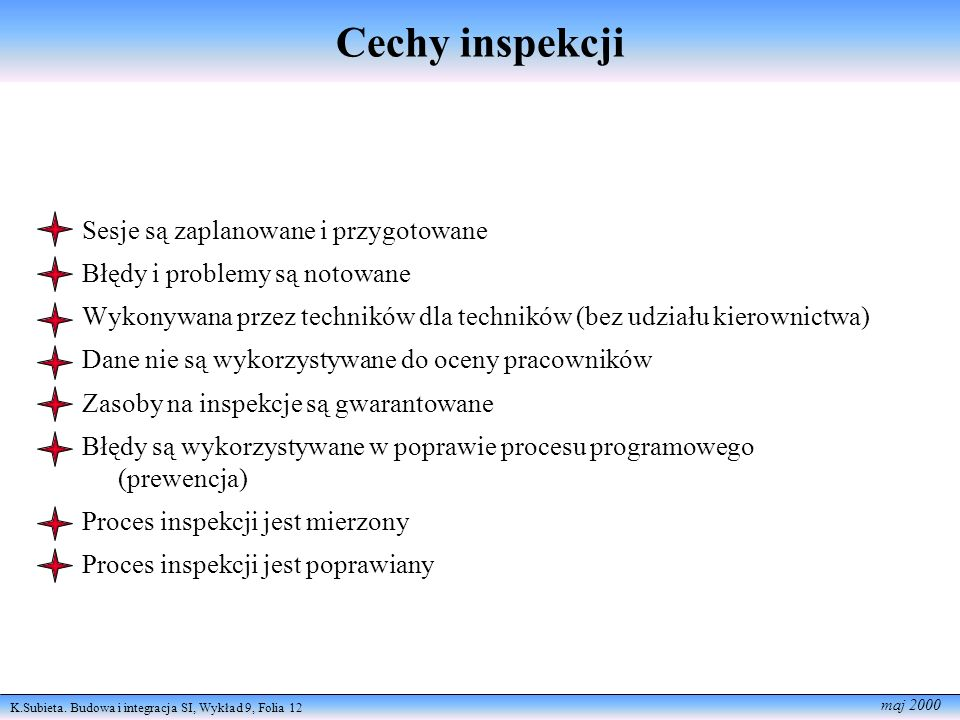 Cechy inspekcji Sesje są zaplanowane i przygotowane
