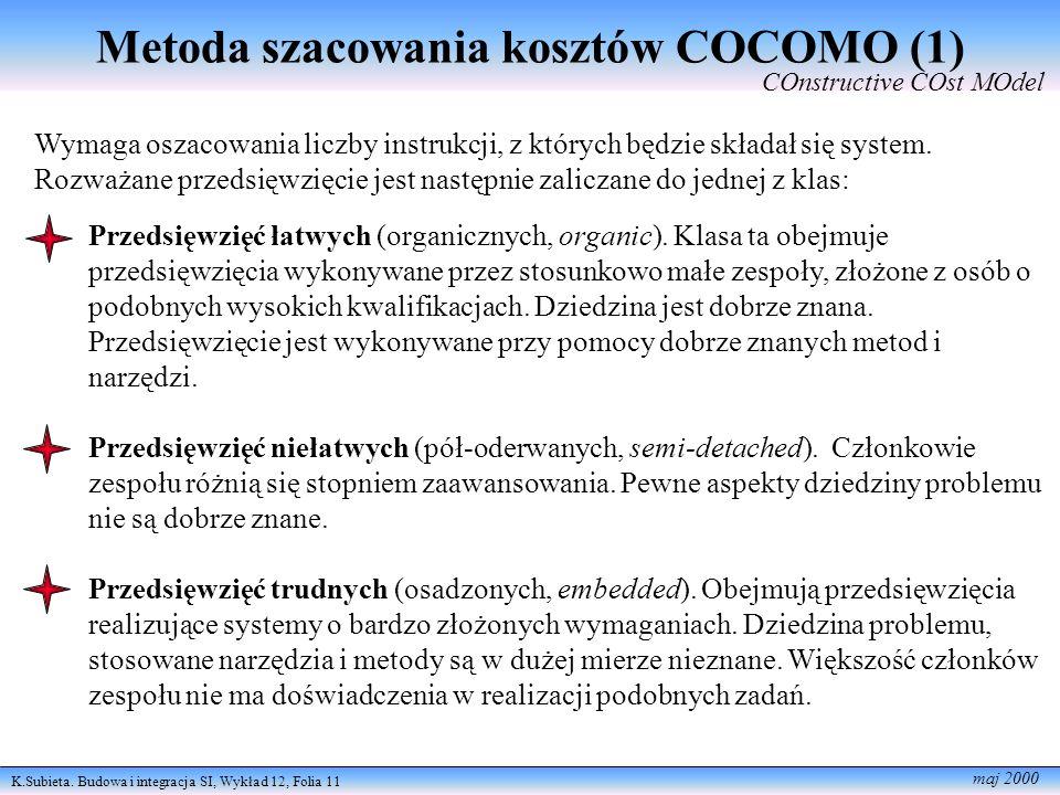 Metoda szacowania kosztów COCOMO (1)