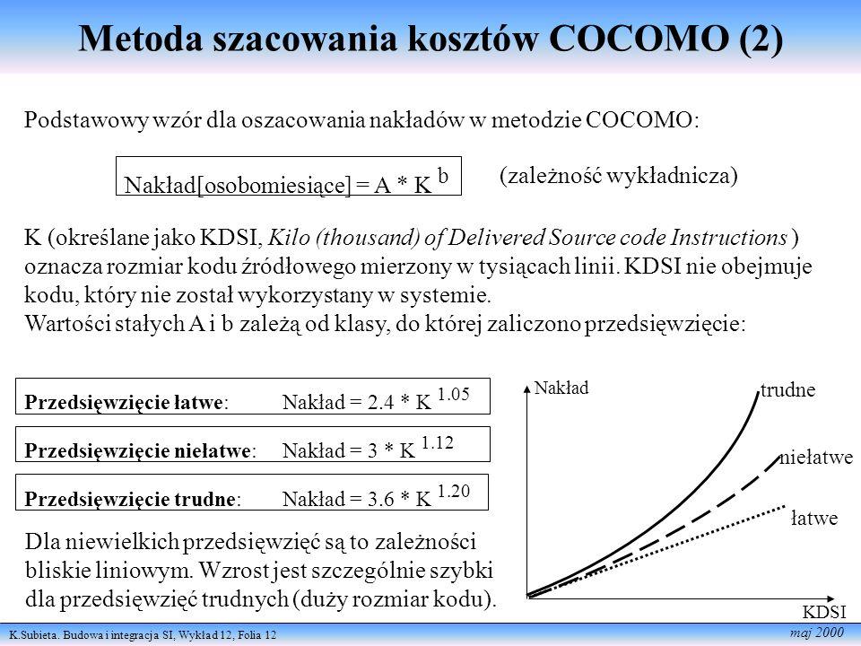 Metoda szacowania kosztów COCOMO (2)