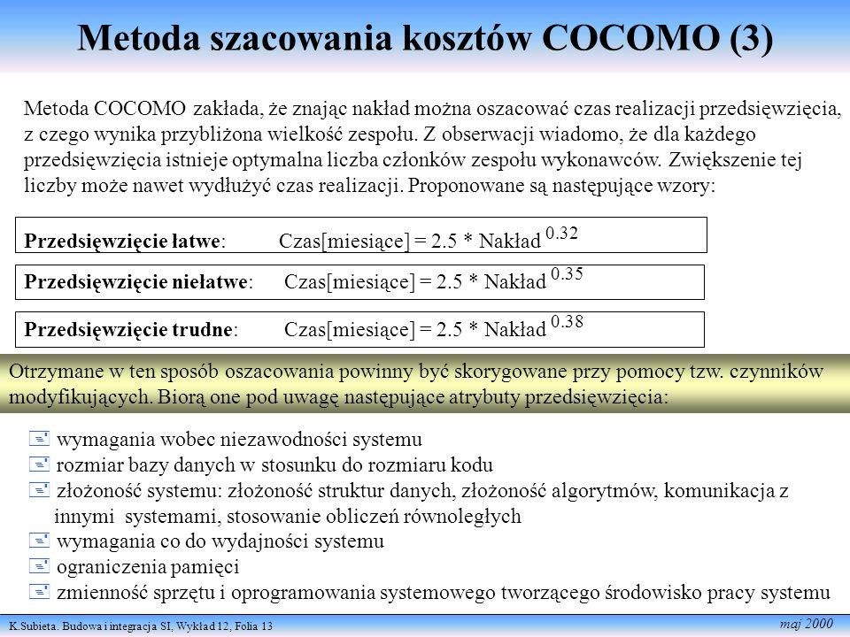 Metoda szacowania kosztów COCOMO (3)