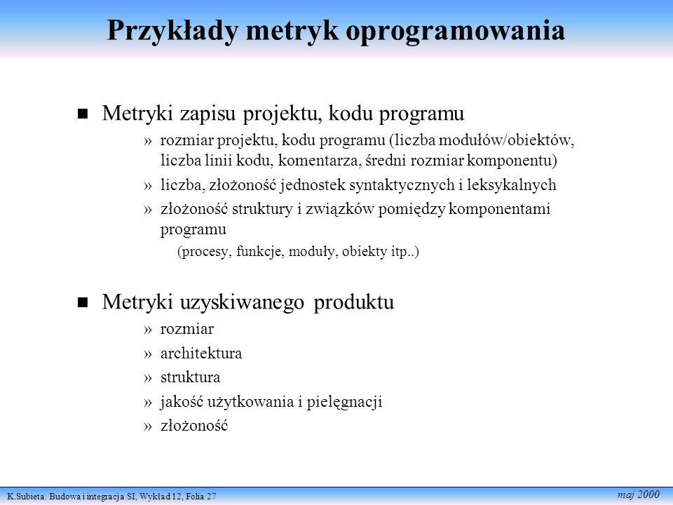 Przykłady metryk oprogramowania