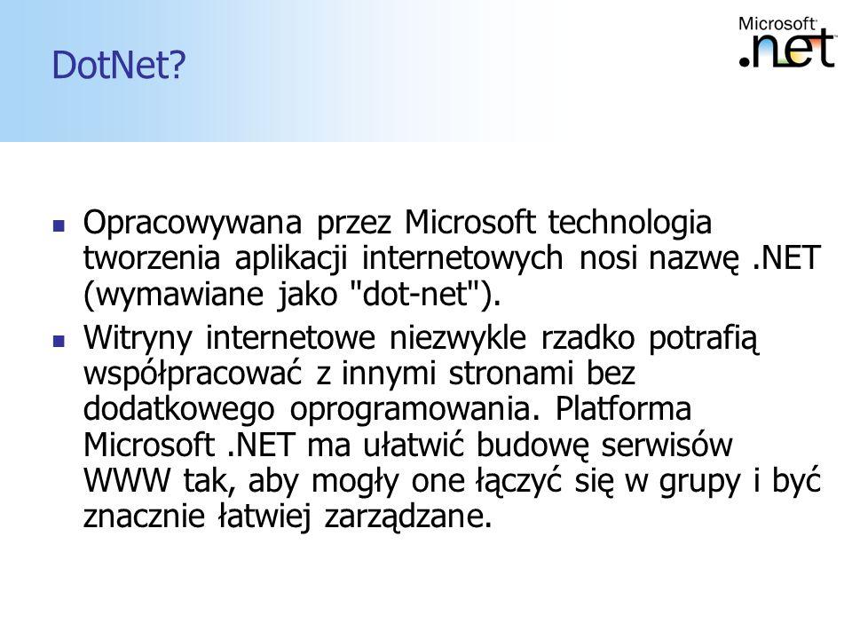 DotNet Opracowywana przez Microsoft technologia tworzenia aplikacji internetowych nosi nazwę .NET (wymawiane jako dot-net ).