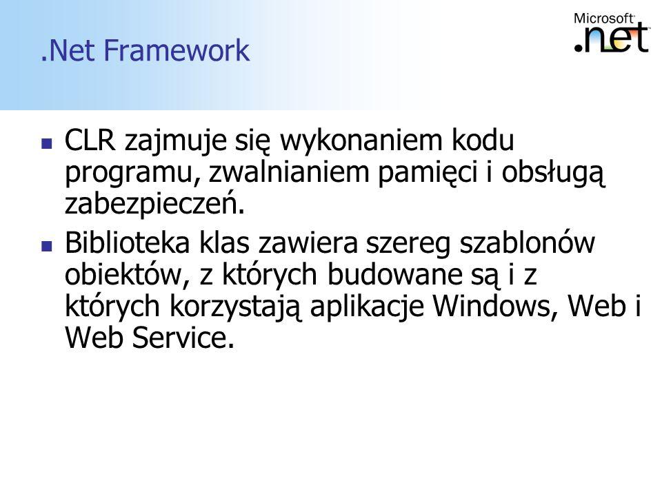 .Net Framework CLR zajmuje się wykonaniem kodu programu, zwalnianiem pamięci i obsługą zabezpieczeń.