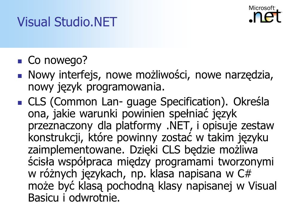 Visual Studio.NET Co nowego