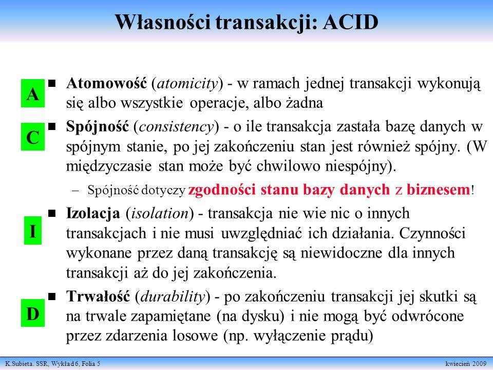 Własności transakcji: ACID