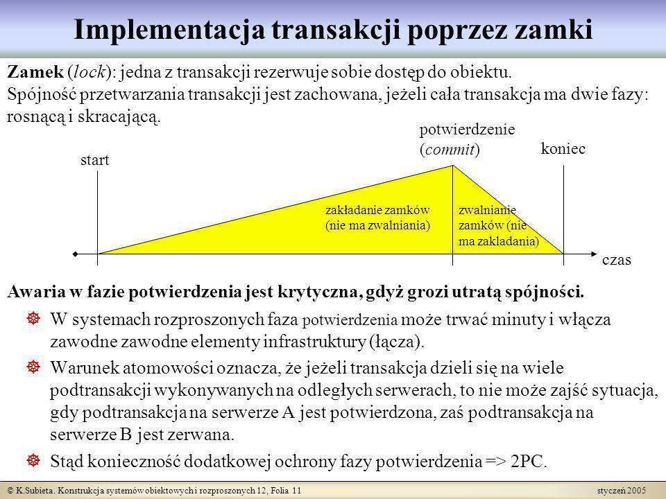 Implementacja transakcji poprzez zamki
