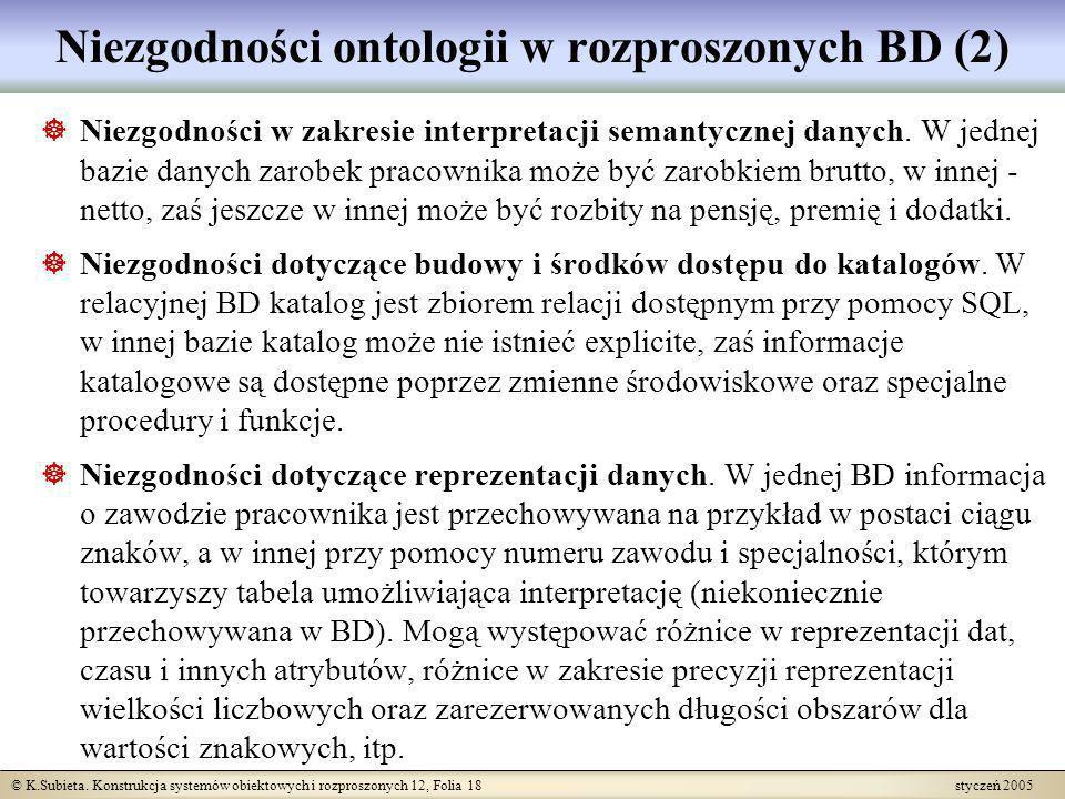 Niezgodności ontologii w rozproszonych BD (2)