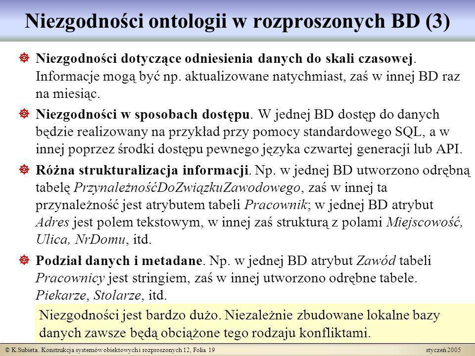 Niezgodności ontologii w rozproszonych BD (3)