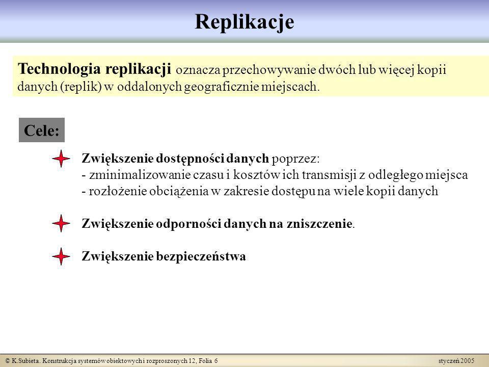 Replikacje Technologia replikacji oznacza przechowywanie dwóch lub więcej kopii danych (replik) w oddalonych geograficznie miejscach.