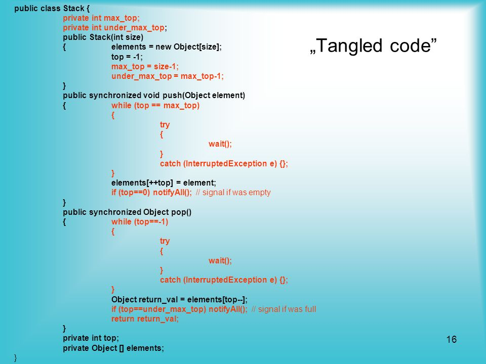"""Tangled code public class Stack { private int max_top;"