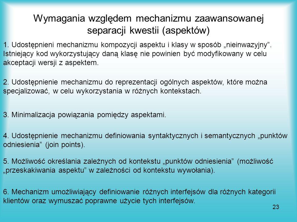 Wymagania względem mechanizmu zaawansowanej separacji kwestii (aspektów)