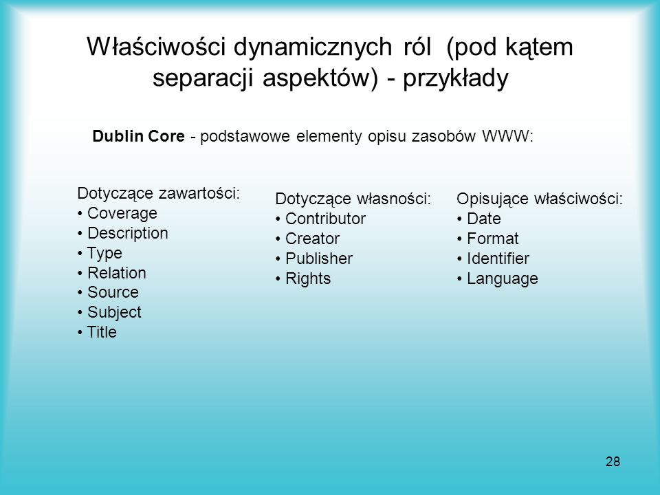 Właściwości dynamicznych ról (pod kątem separacji aspektów) - przykłady
