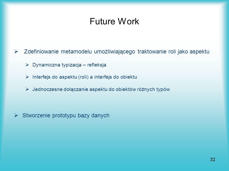 Future Work Zdefiniowanie metamodelu umożliwiającego traktowanie roli jako aspektu. Dynamiczna typizacja – refleksja.