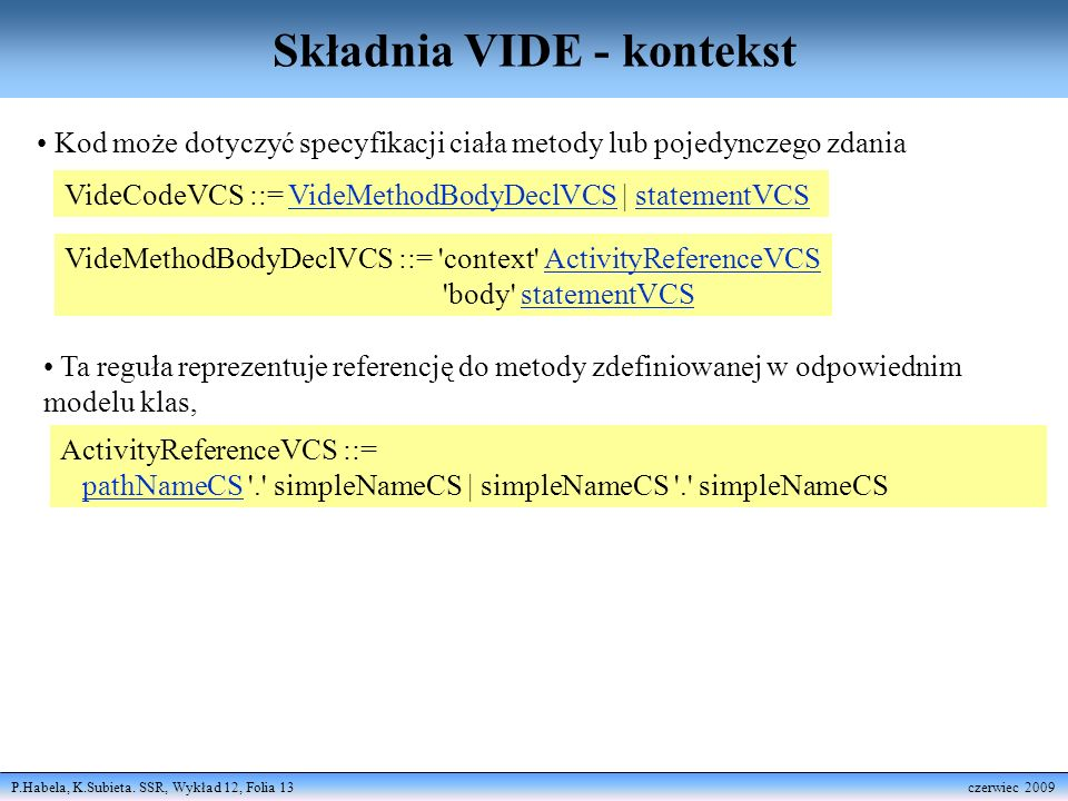 Składnia VIDE - kontekst