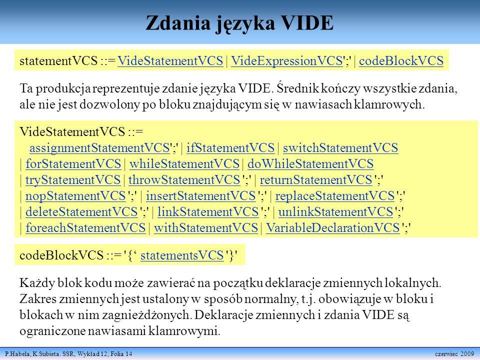 Zdania języka VIDE statementVCS ::= VideStatementVCS | VideExpressionVCS ; | codeBlockVCS.