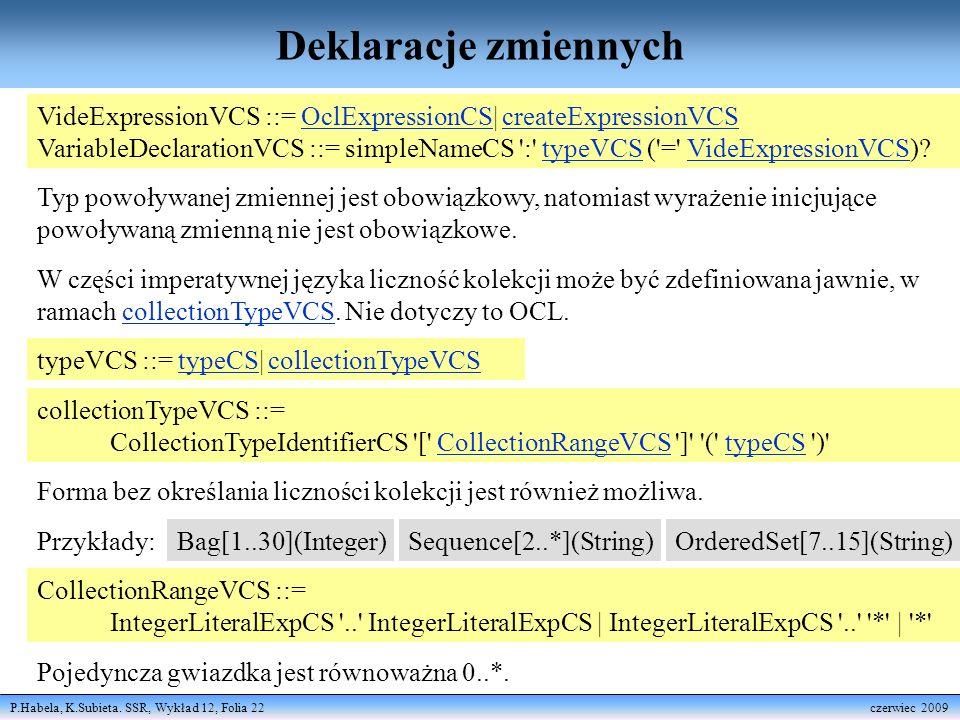 Deklaracje zmiennych VideExpressionVCS ::= OclExpressionCS| createExpressionVCS.