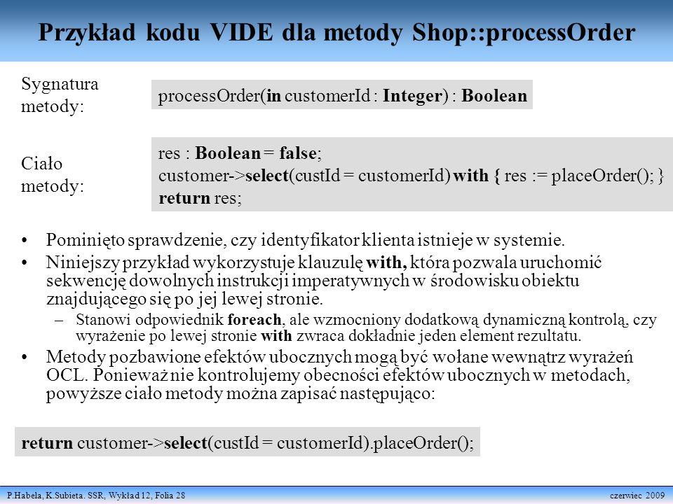 Przykład kodu VIDE dla metody Shop::processOrder
