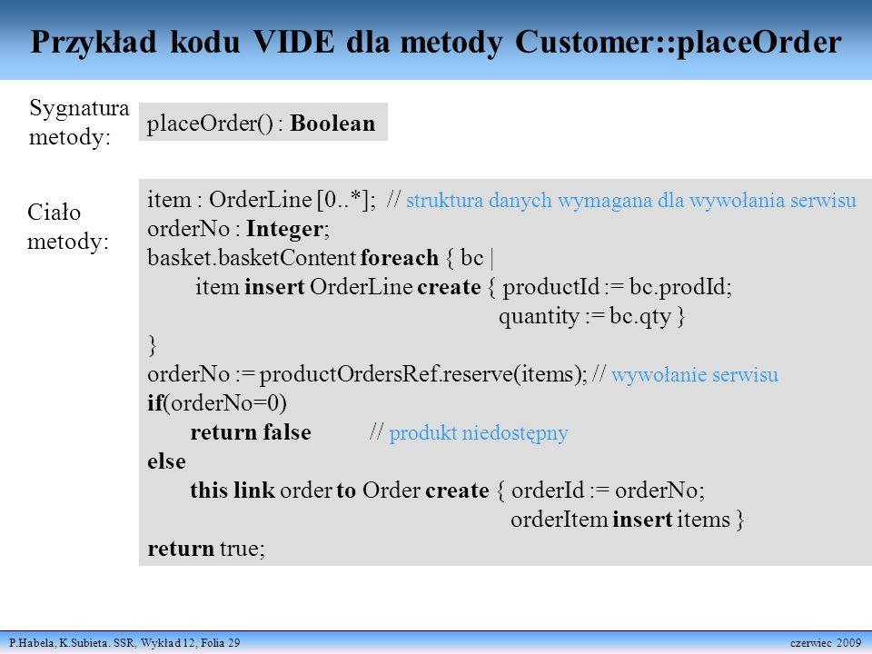 Przykład kodu VIDE dla metody Customer::placeOrder