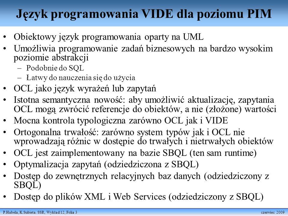 Język programowania VIDE dla poziomu PIM