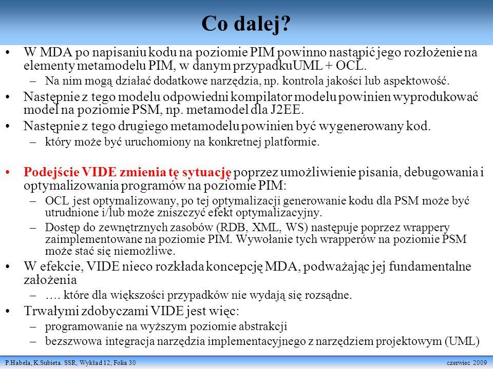 Co dalej W MDA po napisaniu kodu na poziomie PIM powinno nastąpić jego rozłożenie na elementy metamodelu PIM, w danym przypadkuUML + OCL.