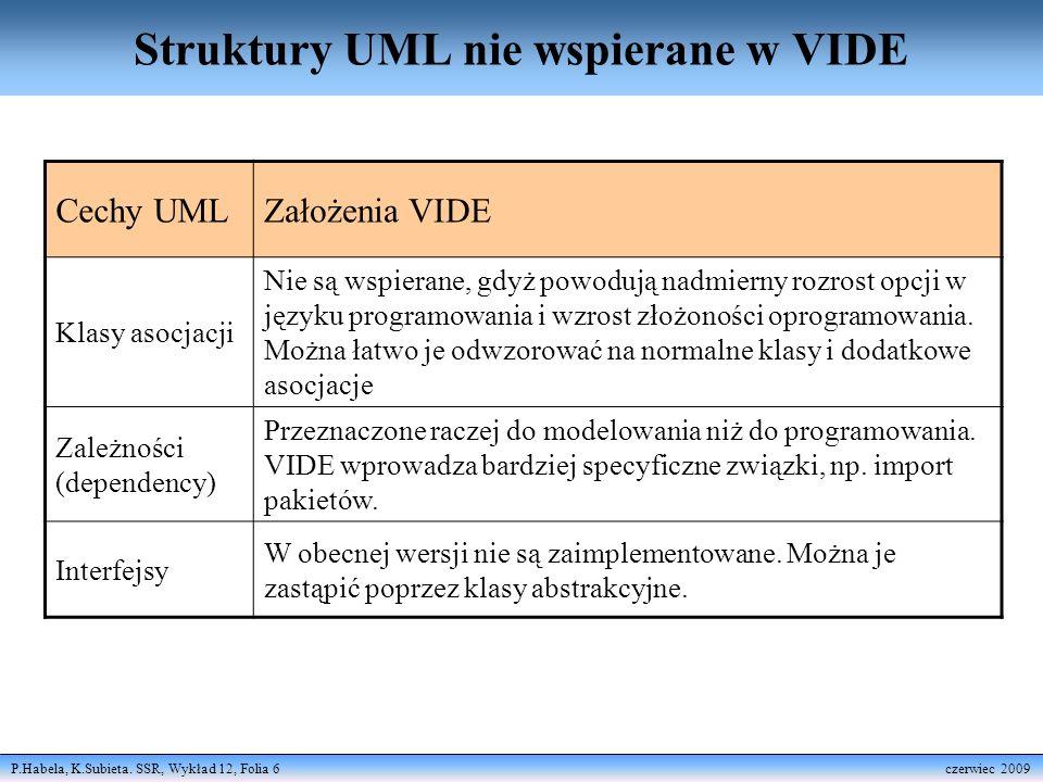 Struktury UML nie wspierane w VIDE