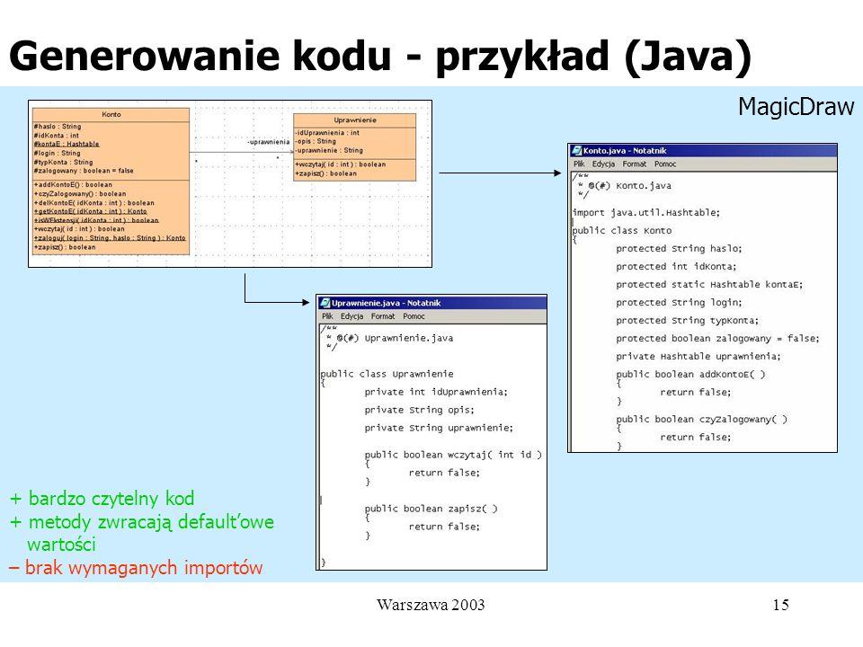 Generowanie kodu - przykład (Java)