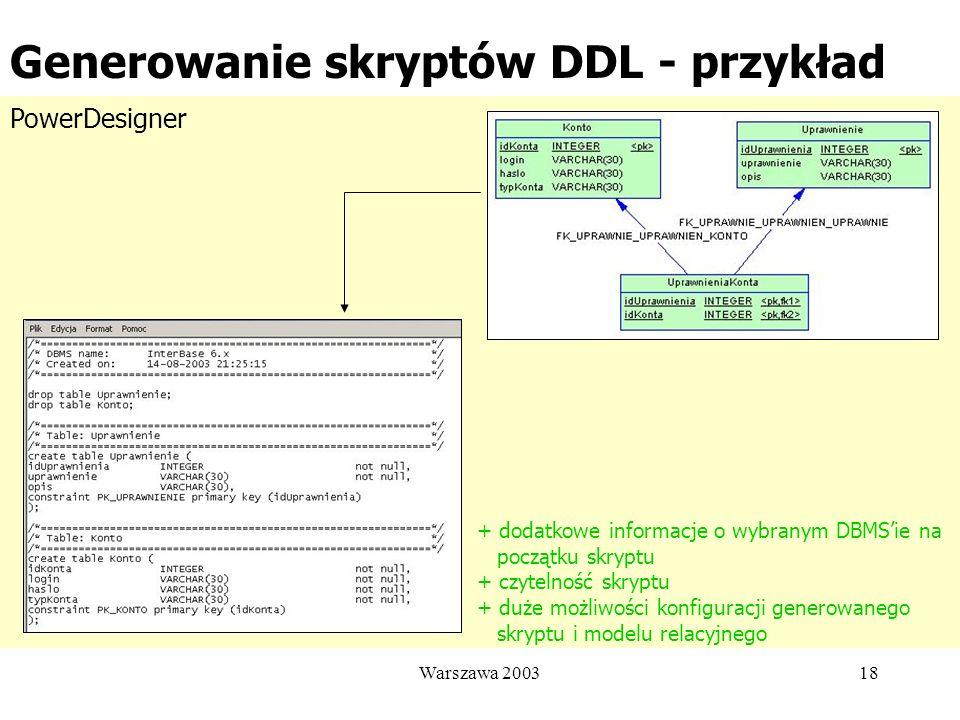Generowanie skryptów DDL - przykład