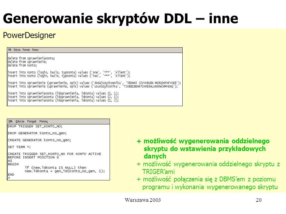 Generowanie skryptów DDL – inne