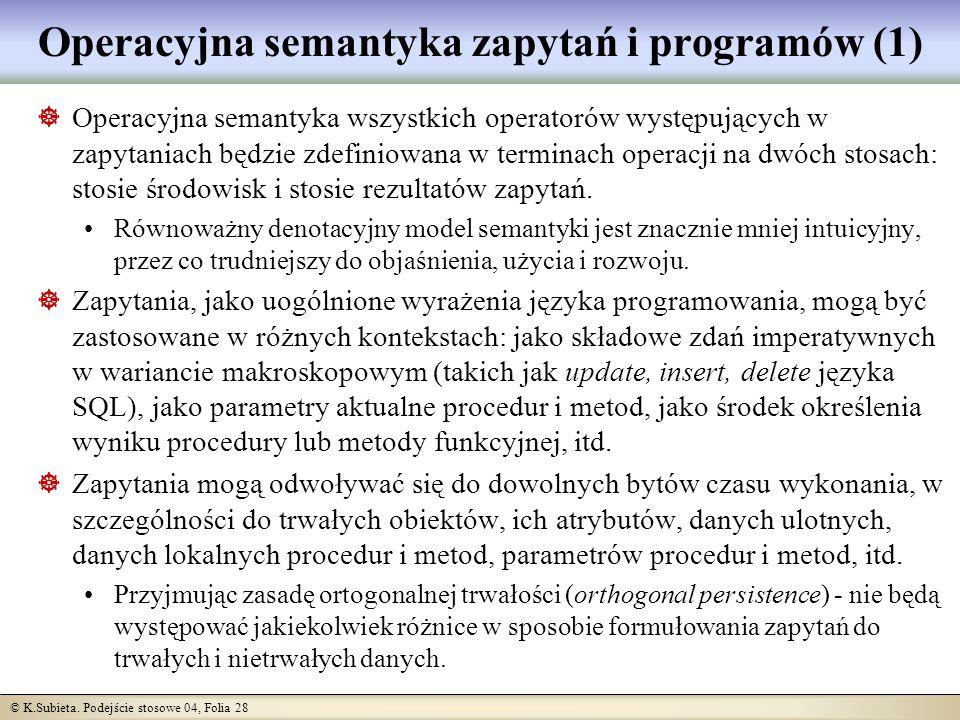 Operacyjna semantyka zapytań i programów (1)