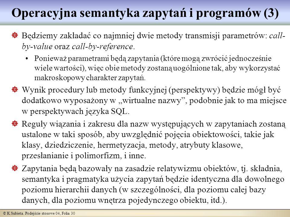 Operacyjna semantyka zapytań i programów (3)
