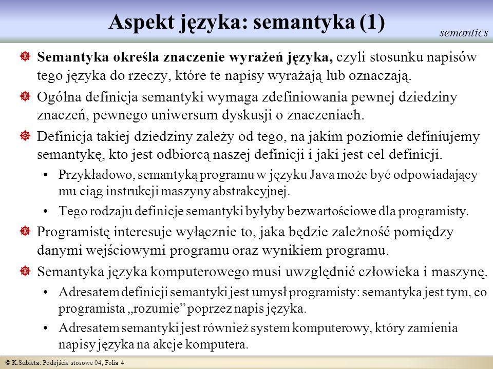 Aspekt języka: semantyka (1)