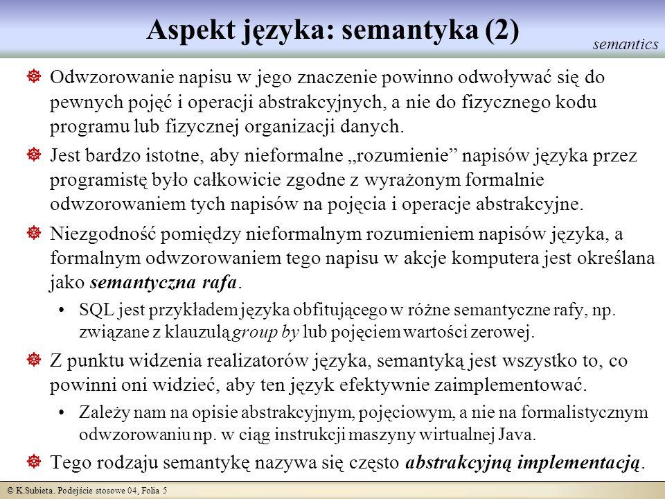 Aspekt języka: semantyka (2)