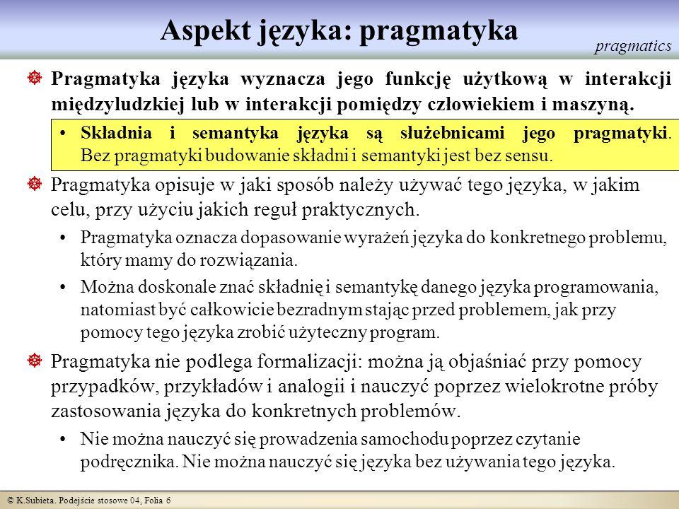 Aspekt języka: pragmatyka