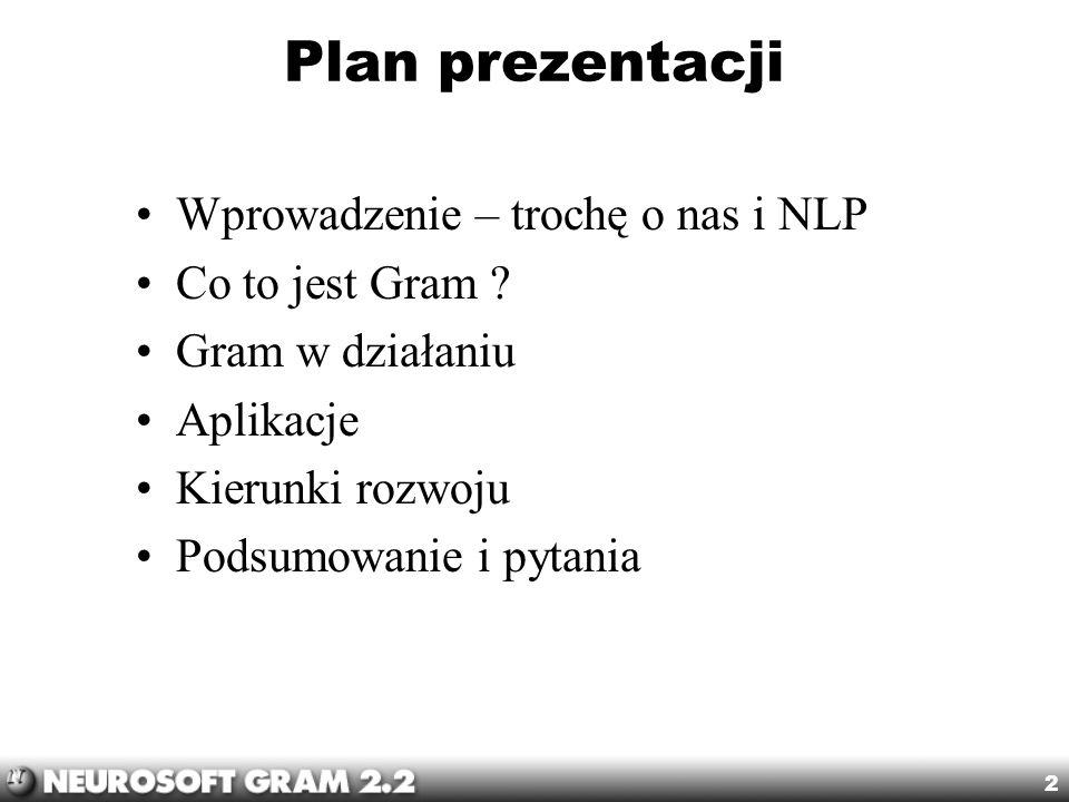 Plan prezentacji Wprowadzenie – trochę o nas i NLP Co to jest Gram