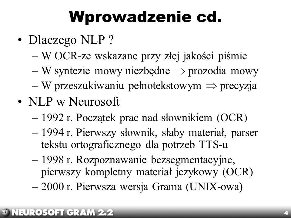 Wprowadzenie cd. Dlaczego NLP NLP w Neurosoft