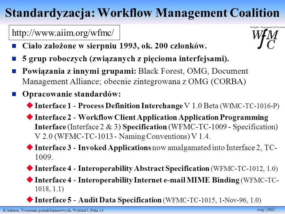 Standardyzacja: Workflow Management Coalition