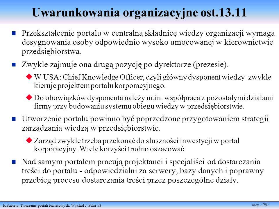 Uwarunkowania organizacyjne ost.13.11