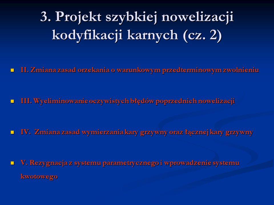 3. Projekt szybkiej nowelizacji kodyfikacji karnych (cz. 2)