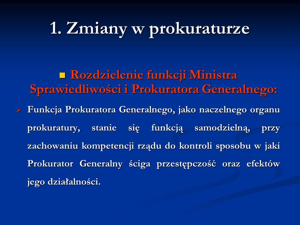 1. Zmiany w prokuraturzeRozdzielenie funkcji Ministra Sprawiedliwości i Prokuratora Generalnego: