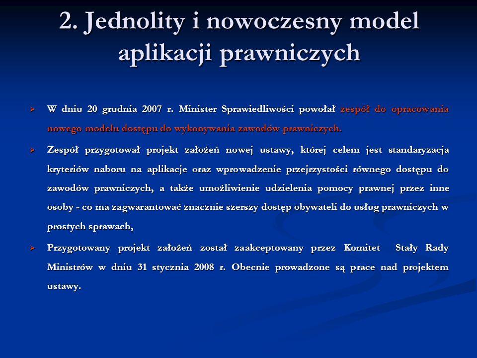 2. Jednolity i nowoczesny model aplikacji prawniczych