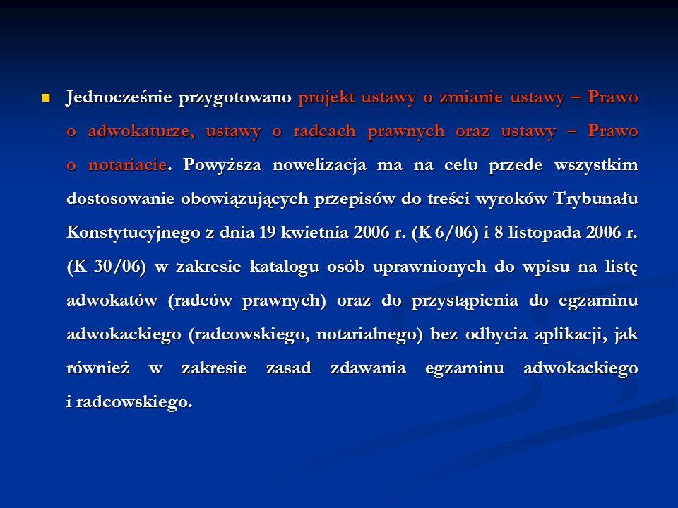 Jednocześnie przygotowano projekt ustawy o zmianie ustawy – Prawo o adwokaturze, ustawy o radcach prawnych oraz ustawy – Prawo o notariacie.