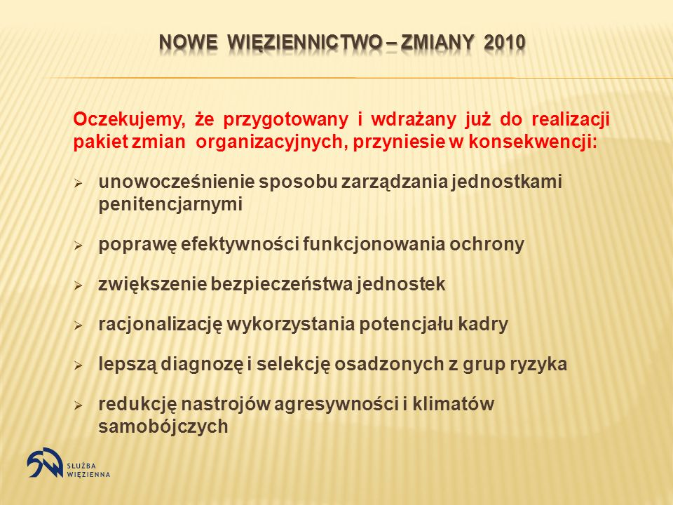 NOWE WIęZIENNICTWO – ZMIANY 2010