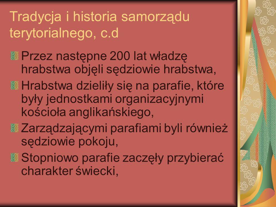 Tradycja i historia samorządu terytorialnego, c.d