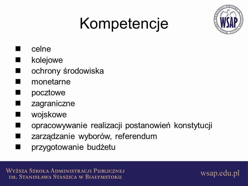 Kompetencje celne kolejowe ochrony środowiska monetarne pocztowe